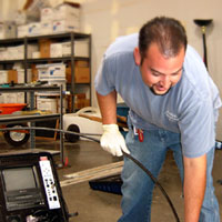 Fresno plumbing contractor performs demos a video inspection camera